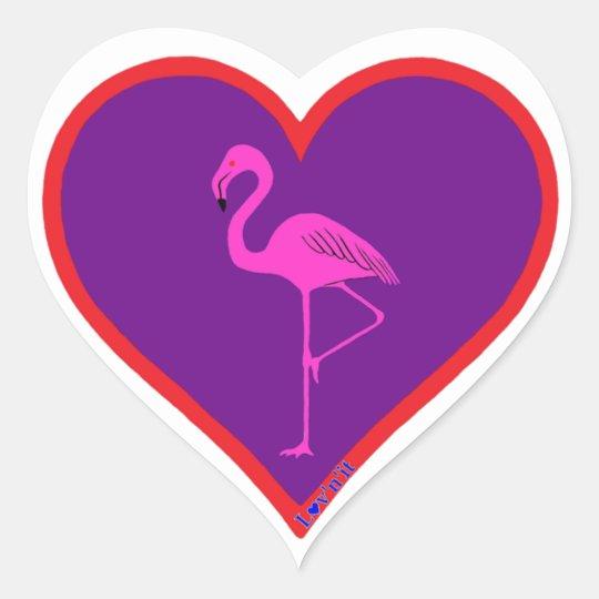 flamingo heart sticker