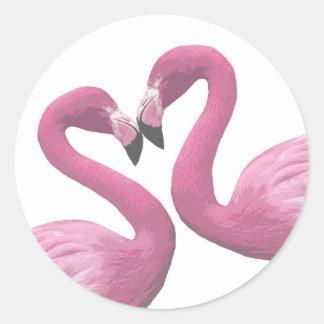 Flamingo Heart Round Stickers