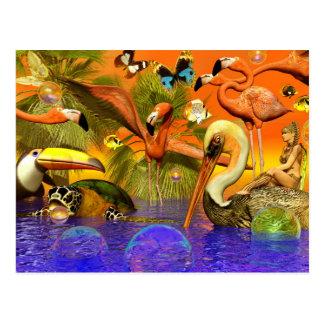 Flamingo Heaven Postcard