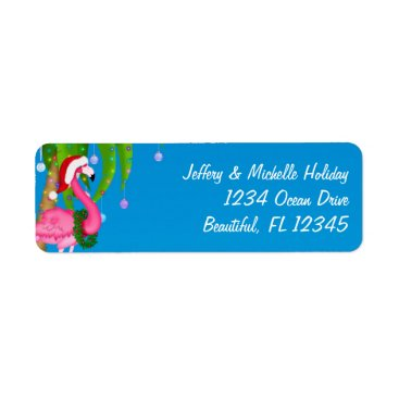 Beach Themed Flamingo Holiday Palm Tree Beach Christmas Address Label