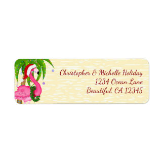 Flamingo Holiday Palm Tree Beach Christmas Address Label