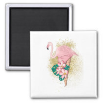 Flamingo Ice Cream With Gold Magnet