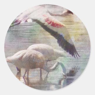 Flamingo In Flight Classic Round Sticker