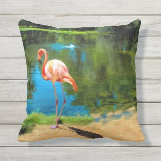 Flamingo In Paradise Outdoor Pillow