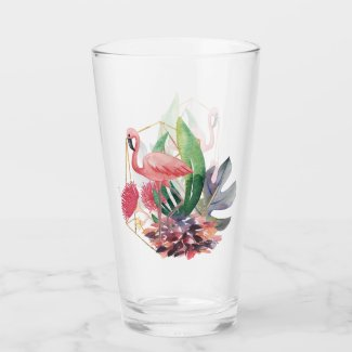 Flamingo in Paradise Watercolor Print Glass