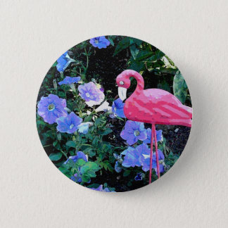 Flamingo in the Petunia Bed Button
