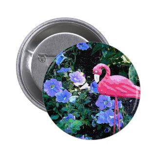 Flamingo in the Petunia Bed Button