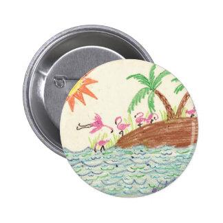 Flamingo Island 2 Inch Round Button