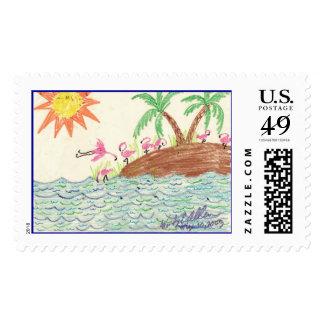 Flamingo Island art by Wendy C. Allen Postage Stamp