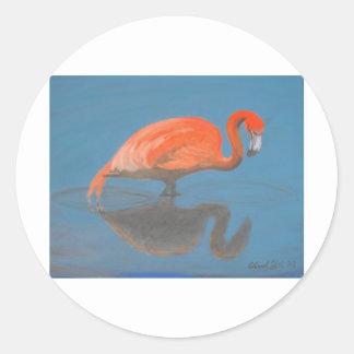 Flamingo items classic round sticker