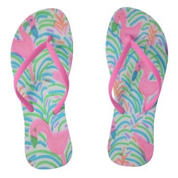 Beach Themed Flamingo Jungle Party Flipflops