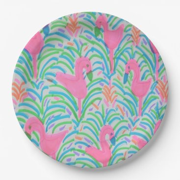 Flamingo Jungle Party Paper Plates