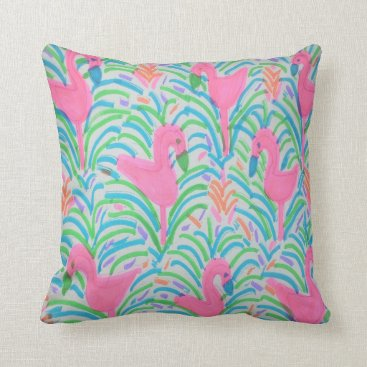 Beach Themed Flamingo Jungle Party Throw Pillow