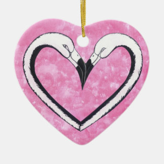 Flamingo Kiss heart Christmas Ornaments