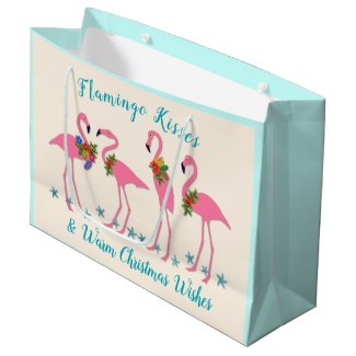 Flamingo Kisses Warm Christmas Wishes Gift Bag