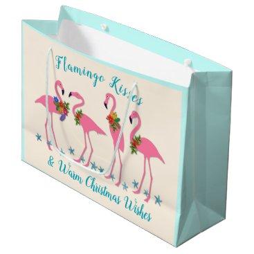 Beach Themed Flamingo Kisses Warm Christmas Wishes Gift Bag