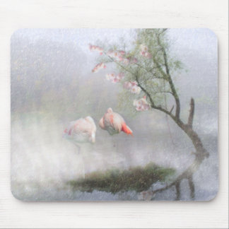 Flamingo Lagoon Love ~ Light Mouse Pad