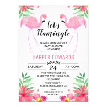 Flamingo Let's Flamingle Baby Shower Invitation