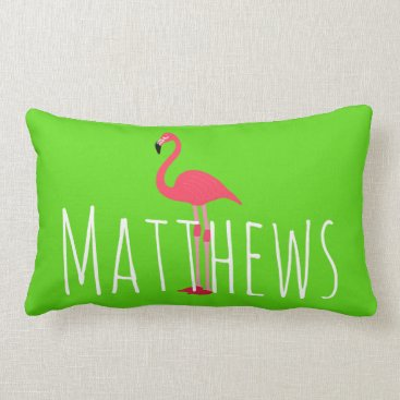 Beach Themed Flamingo Lime Green Name Accent Pillow