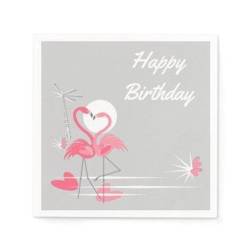 Beach Themed Flamingo Love Birthday paper napkins