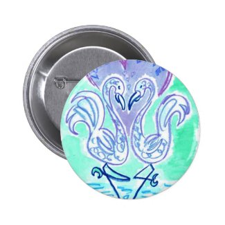 Flamingo Love (blue) Pinback Button