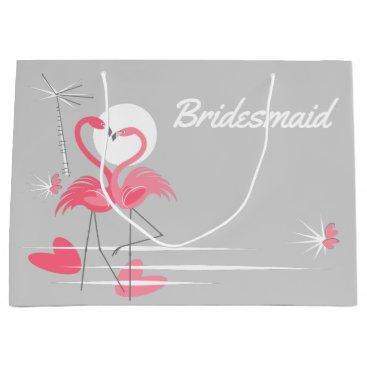 Wedding Themed Flamingo Love Bridesmaid large Large Gift Bag