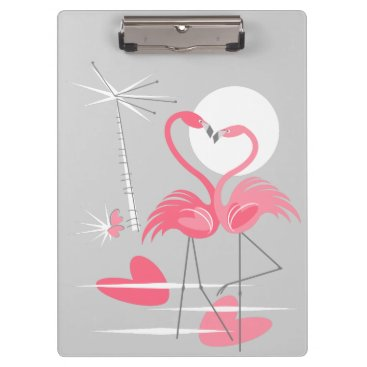 Beach Themed Flamingo Love clipboard