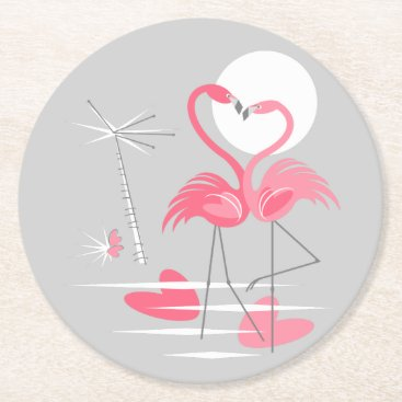 Beach Themed Flamingo Love coaster round