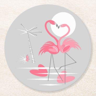 Beach Themed Flamingo Love coaster round
