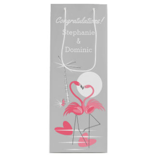 Flamingo Love Congratulations! Names gift bag wine