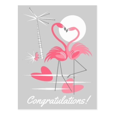 Beach Themed Flamingo Love Congratulations! postcard landscape