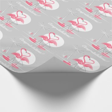 Beach Themed Flamingo Love Congratulations! wrapping paper