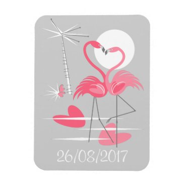 Beach Themed Flamingo Love Date flexible magnet
