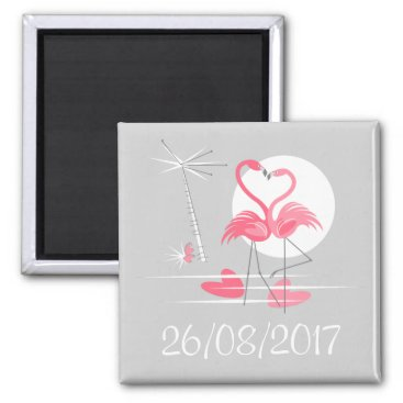 Beach Themed Flamingo Love Date magnet square