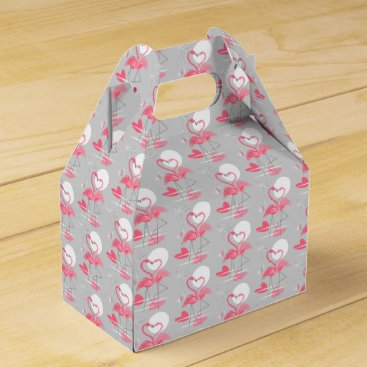Beach Themed Flamingo Love favor box gable tiled