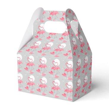 Beach Themed Flamingo Love favor box gable tiled