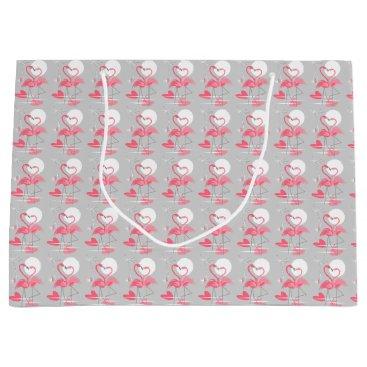 Beach Themed Flamingo Love gift bag large tiled