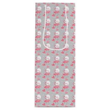 Beach Themed Flamingo Love gift bag wine tiled