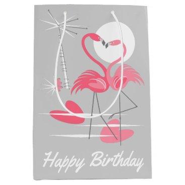 Beach Themed Flamingo Love Happy Birthday gift bag medium