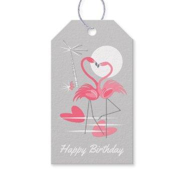 Beach Themed Flamingo Love Happy Birthday grey back gift tags