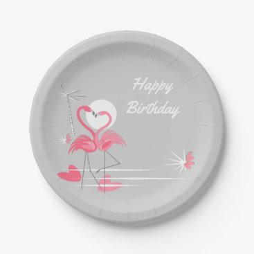 Beach Themed Flamingo Love Happy Birthday paper plates
