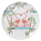 Flamingo Love Hearts Melamine Plate