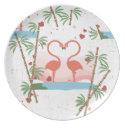 Flamingo Love Hearts Plate