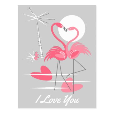 Beach Themed Flamingo Love I Love You postcard landscape