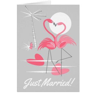 Beach Themed Flamingo Love Just Married! inside text grey Card