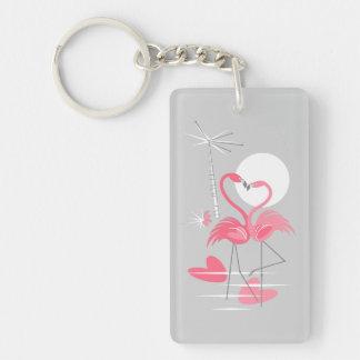 Flamingo Love keychain acrylic rectangle