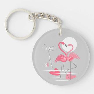 Flamingo Love keychain acrylic round