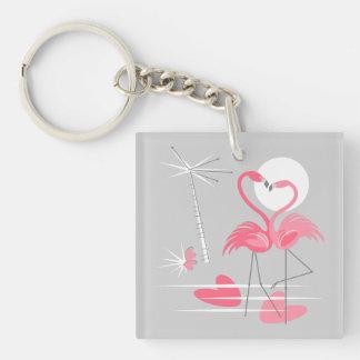 Flamingo Love keychain acrylic square