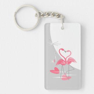 Flamingo Love Large Moon acrylic rectangle Keychain