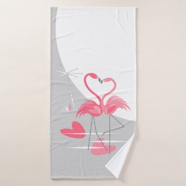 Beach Themed Flamingo Love Large Moon bath towel vertical